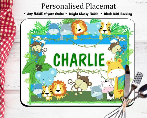 Personalised Placemat N15 - Jungle Animals